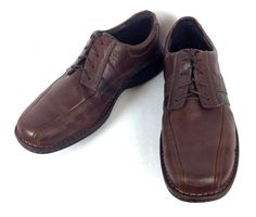 Clarks Shoes Mens 10.5 Brown Leather Comfort Athletic Oxfords W Wide