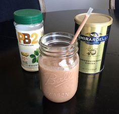 frozen banana 2 tbsp PB2 1 tbsp of unsweetened cocoa  1 cup almond milk