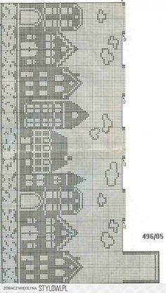 filet crochet - European cityscape on water Fair Isle Knitting Patterns, Knitting Charts, Knitting Stitches, Crochet Patterns, Start Knitting, Doily Patterns, Dress Patterns, Cross Stitch House, Cross Stitch Charts