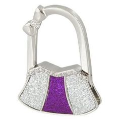 """Amico Glitter Purple Silver Tone Metal Bowknot Decor Bag Shaped Folding Handbag Hook by Amico. $6.33. Suitable for : Lady;Pattern : Pure. Color : Silver Tone,Purple;Material : Metallic,Rubber. Size : Small;Height : 10.5cm/4.1"""";Style : 2 x 0.4 x 2.5inches(L*W*H). Brand : SourcingMap;Size Type : Regular. Net Weight : 61g;Package Content : 1 x Handbag Hanger. Unfold the hook to hang hangbag or purse nearby, keeps them clean and safe. Compact and portable, also can lo..."""