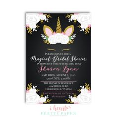 A Black Unicorn invitation. Perfect for any magical bridal shower or birthday.