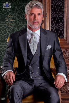 """Italian tailoring suit stylish cut """"Slim"""" two buttons. Mens Tailored Suits, Mens Suits, Modern Gentleman, Gentleman Style, Style Costume Homme, Costume Gris, Grey Hair Men, Tight Suit, Polo Shirt Outfits"""