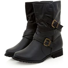 Wide Fit Black Cross Strap Biker Boots (25 CAD) ❤ liked on Polyvore featuring shoes, boots, wide shoes, moto boots, strappy shoes, cross boots and cross shoes
