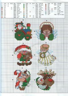 Cross-stitch Quick & Cheery Christmas Ornaments, part 2.. with the color chart... Decorazione 13b