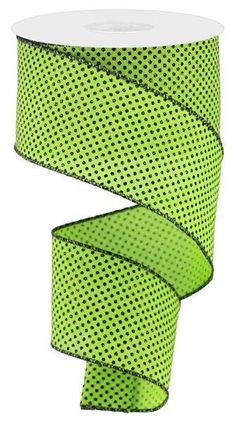"""Excited to share this item from my #etsy shop: Lime Green Black Micro dot wired ribbon, Halloween ribbon, 2.5"""" dot lime green black ribbon, micro dot ribbon, RGA1732AM Halloween Ribbon, Wreath Supplies, Wired Ribbon, Black Ribbon, Mesh Wreaths, Deco Mesh, Lime, Dots, Glitter"""