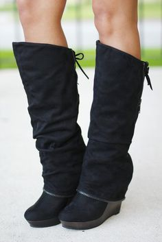 Castor Black Wedge Boots