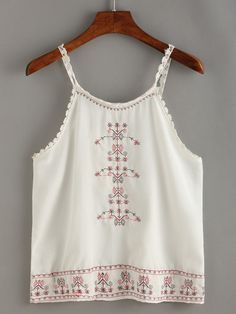 White Spaghetti Strap Embroidered Cami Top.