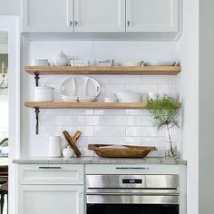 Stacked Wood Kitchen Shelves with Iron Brackets, Transitional, Kitchen