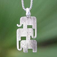 Handcrafted Sterling Silver Pendant Necklace - Elephant Journeys | NOVICA