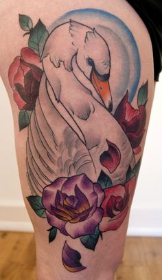 Neo traditional swan tattoo by Jason james
