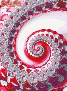 Pink diamond swirl fractal cross stitch kit