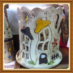 Windlichter - Windlicht schiefe Häuser - ein Designerstück von Keramik-Biene bei DaWanda
