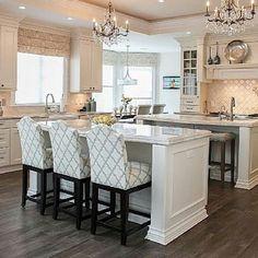 Beautiful White Kitchen, Double Island , Home Decor, Interior Design