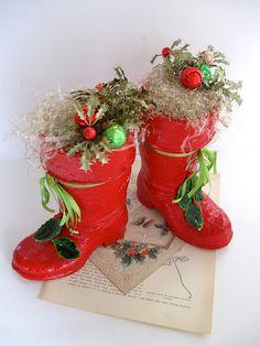 1940's paper mache santa boots.