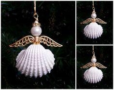 Seashell Angel Ornament Set of 3 Metallic Gold Angel Wings.  Gold Beach Theme Christmas Decoration.  Seashell Angel Coastal Holiday Decor