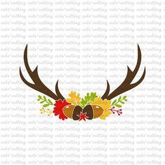 Antler svg Autumn svg flower svg floral svg happy fall