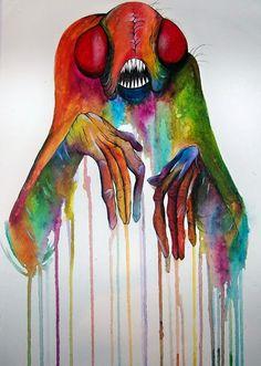 Alex Pardee Those colors! Dark Fantasy, Fantasy Art, Alex Pardee, Indie Art, Weird And Wonderful, Art Google, Trippy, Dark Art, Art Inspo