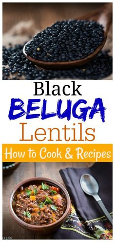 Vegan Lentil Recipes, Delicious Vegan Recipes, Vegetarian Recipes, Cooking Recipes, Beluga Lentils Recipe, How To Cook Lentils, Veg Dishes, Side Dishes, Black Lentils