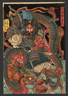 Tattoo Ideas & Inspiration - Japanese Art | Kuniyoshi - Nagasaki Kangayu-Saemon, Arrows & Dragon | #Japanese #Art #Warrior #Dragon