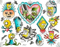 Halloween Simpsons Flash Sheet Limited Edition by AlexStrangler, $40.00