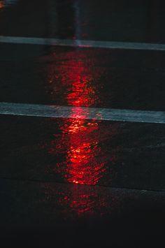 Red light falling on the street + night photography + travel photography + street photography + reflection + Night Photography, Street Photography, Foto Top, Portrait Studio, Red Aesthetic, Neon Lighting, Chiaroscuro, City Lights, Red Lights