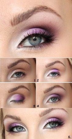 schmink tipps für blaue augen, lidschatten in lila und weiß