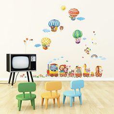 tren de los animales y de aire caliente etiqueta de la pared del globo Decowall maravillosa imaginación dedicado de algún diseño pegatinas de pa