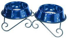 Platinum Pets 3-Cup Scroll Double Diner Stand with Two Bowls, Sapphire Blue -- You can find out more details at the link of the image.