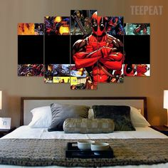 Deadpool Compiliation - 5 Piece Canvas Painting-Canvas-TEEPEAT  #prints #printable #painting #empireprints #teepeat