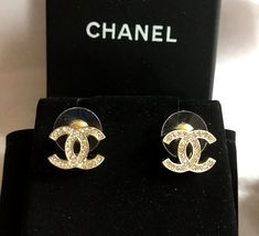 Chanel Clic Mini Cc Crystal Stud Gold Earrings