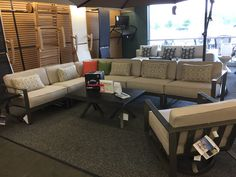 """Castelle - Park Place Sectional with """"Live Edge"""" coffee and end tables. Swivel Lounge available as an additional item."""