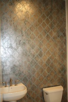 Activated tissue using Modern Masters Metal Effects with Copper Reactive Metallic Paint Blue Patina with Platinum and Warm Silver on top; Moorish Trellis stencil in teal. Faux Walls, Faux Painting Walls, Stencils, Wall Finishes, Faux Finishes For Walls, Moroccan Design, Stencil Designs, Moorish, Wall Treatments