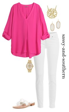 """""""dinner tonight"""" by sassy-and-southern ❤ liked on Polyvore featuring Paige Denim, H&M, Jack Rogers, Kendra Scott and Michael Kors"""