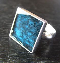 Sterling Silver Dark Teal Leather Ring  Square Size by LoriDelisle, $55.00