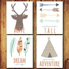 Set of Four Nursery Printables Instant Download by rdkDesign, $15.00 LITERALLY so adorable. Love the tribal/outdoorsy theme for a girl or boy.