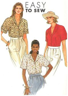 Simplicity 9499 Misses Easy to Sew Blouse Pattern Uncut Sizes  10 12 14