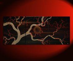 Plum Blossom Painting Original Art zen Asian style Black and Gold Midnight Calming Moon Masculine 48x20 Custom