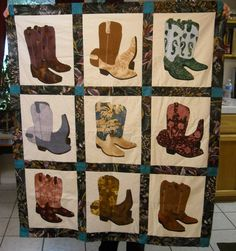Quilt made by 40 Something Cowgirls for charity. Western Boots in blues Quilt Stitching, Applique Quilts, Panel Quilts, Quilt Blocks, Bandana Quilt, Southwestern Quilts, Wildlife Quilts, Cowboy Quilt, Texas Quilt