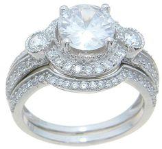 Unique Antique Vintage Style CZ Wedding Engagement Ring Set Sterling Silver