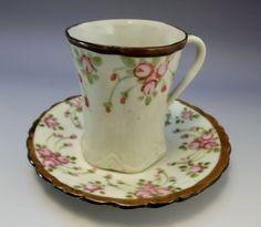 Tea Cup Saucer Set Bone China Pink Flowers Japan Asian Hand Painted