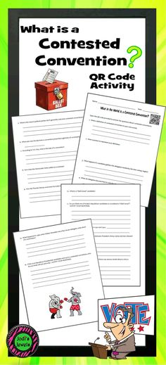 Involve your middle school students in the election process by exploring real-time events. Students will use the QR code provided to answer questions about contested conventions. Worksheet questions are designed to learn about the process and do not involve any political preferences.