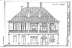 Labatut Plantation House -- elevation of the front drawn during the Federal Government's HABS Project New Orleans Architecture, Colonial Architecture, Historical Architecture, Architecture Plan, Architecture Drawings, Southern Plantation Homes, Southern Mansions, Louisiana Plantations, Louisiana Homes