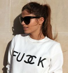 FUCK SWEATER: http://www.glamzelle.com/collections/whats-glam-new-arrivals/products/chanelesque-fuck-sweater-2-colors-available