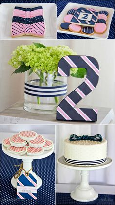 Navy and pink, preppy birthday party, pink and navy birthday, bow tie party