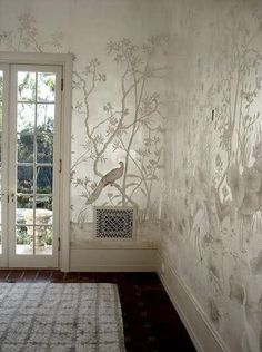 Hand painted silk wallpaper  US $155.78 - 169.4 / Square Meter DHgate