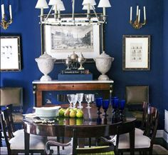Mary McDonald navy dining room - would work with our current horrific paint color ...