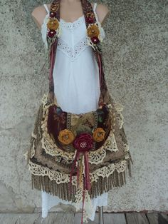Large Handmade Boho Carpet Bag Shabby Chic Cross Body Fringe Purse Gypsy tmyers #Handmade #MessengerCrossBody