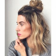 Half bun hair ideas <3