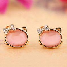 2016 Fashion Lovely Cute Baby Cat Opal Stud Earrings Women Crystal Bow Statement Earrings For Party Boucle D'oreille Femme