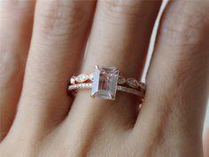 Morganite Wedding SET 14kt Rose Gold 6x8mm Emerald by InOurStar